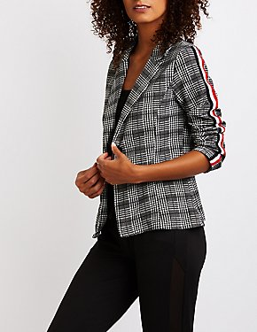 Plaid Striped Sleeve Blazer