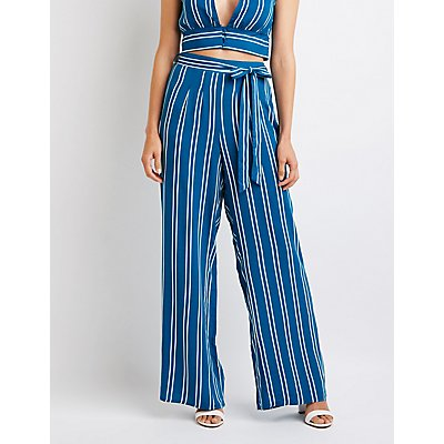 Striped Belted Palazzo Pants | Tuggl