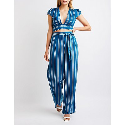Striped Belted Palazzo Pants