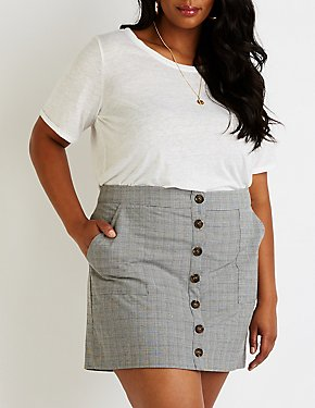 Plus Side Plaid Button Up Skirt