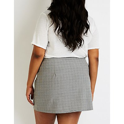 Plus Side Plaid Button Up Skirt