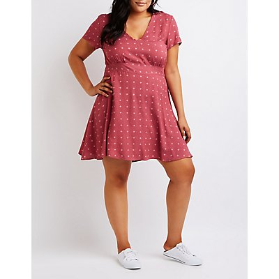 Plus Size Printed V-Neck Dress