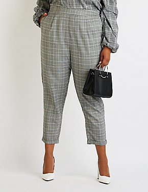 Plus Size Plaid Skinny Trousers