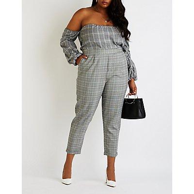 Plus Size Plaid Skinny Trousers