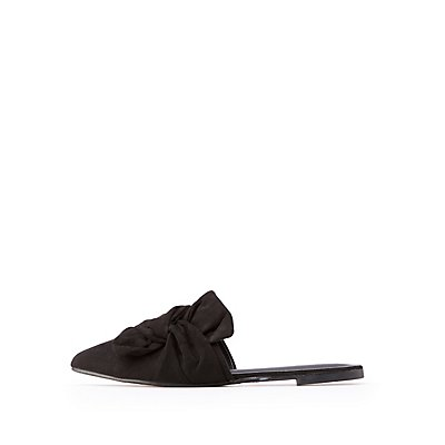 Bow Pointed Toe Mule Flats