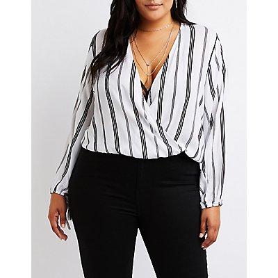 Plus Size Striped Wrap Top