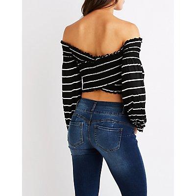 Striped Ruffle-Trim Off-The-Shoulder Crop Top