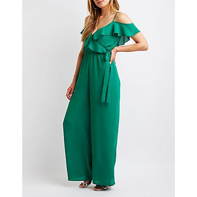 Ruffle Trim Cold Shoulder Jumpsuit