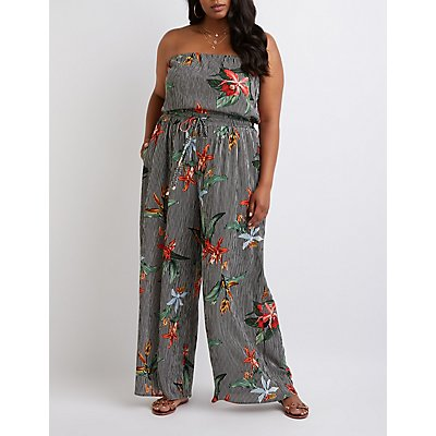 Plus Size Striped Floral Strapless Jumpsuit