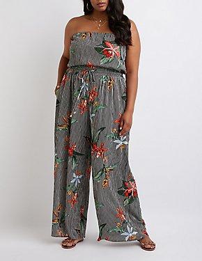 Plus Size Striped Floral Strapless Jumpsuit