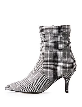 Plaid Ruched Pointed Toe Booties