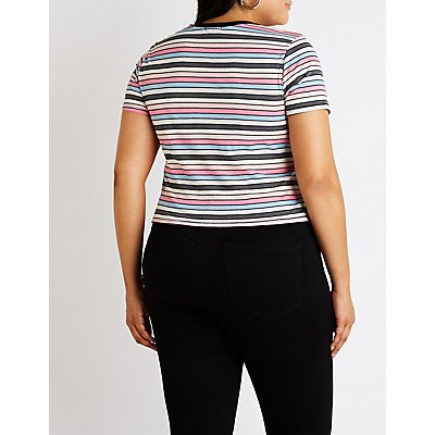 Plus Size Striped Ringer Tee