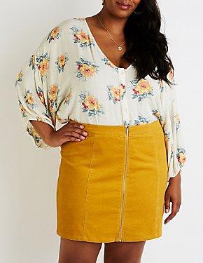 Plus Size Zip Up Mini Skirt
