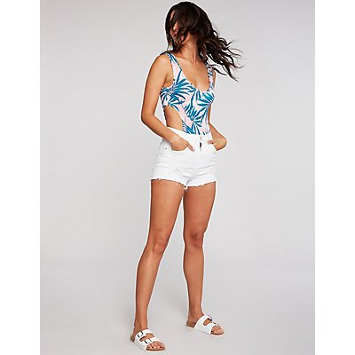 Leaf Print Cut Out Bodysuit