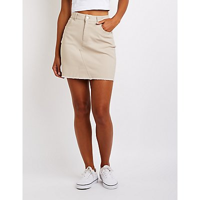 Frayed Hem Mini Skirt