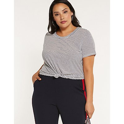 Plus Size Striped Tie Front Tee