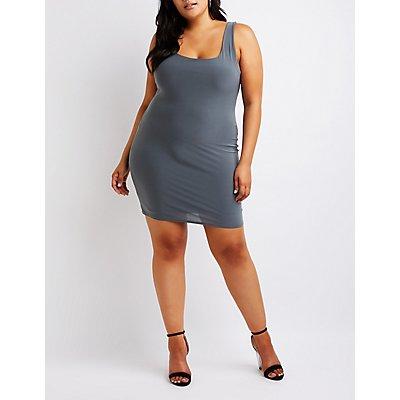 Plus Size Satin Bodycon Dress