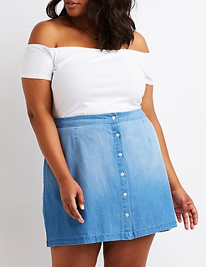 Plus Size Chambray A-Line Skirt