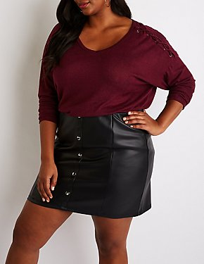 Plus Size Lace Up Detailed Pullover Sweater