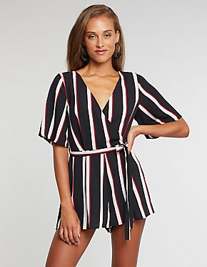 V-Neck Striped Romper