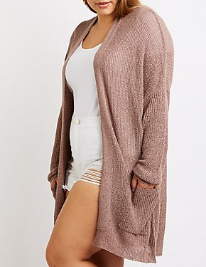 Plus Size Open Front Cardigan