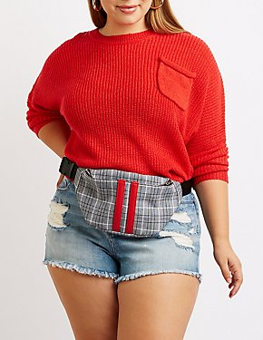Plus Size Single Pocket Pullover Sweater