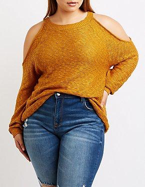Plus Size Cold Shoulder Sweater