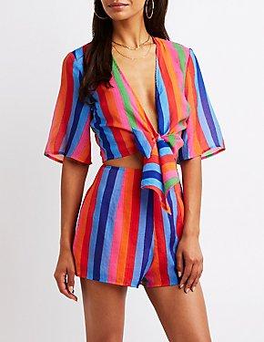 Striped Hi-Rise Shorts