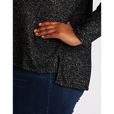 Plus Size Side Slit Pullover Sweater
