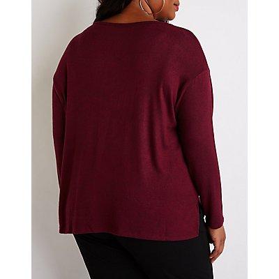 Plus Size Side Slit Knit Top
