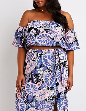 Plus Size Tropical Off The Shoulder Top