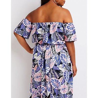 Plus Size Tropical Off The Shoulder Top