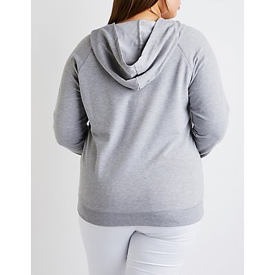 Plus Size Lace Up Hooded Sweatshirt