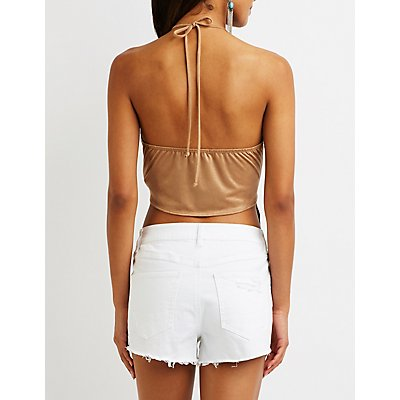 Laser Cut Fringe Halter Top