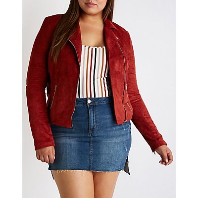 Plus Size Faux Suede Moto Jacket