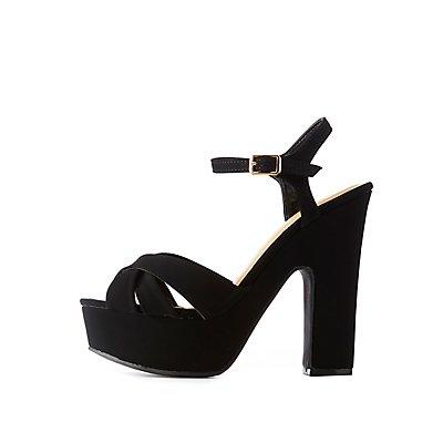 Faux Nubuck Platform Sandals