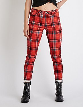 Refuge Plaid Mid Rise Skinny Pants