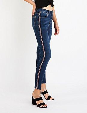 Hi Rise Racer Stripe Skinny Jeans
