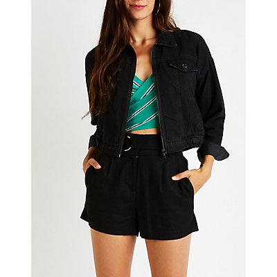 Refuge Zip Up Cropped Denim Jacket