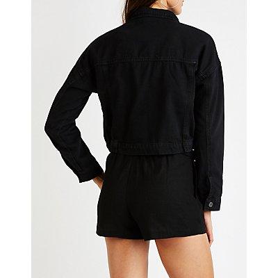 Refuge Zip Up Cropped Denim Jacket
