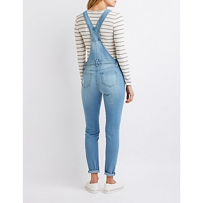 Destroyed Denim Skinny Overalls