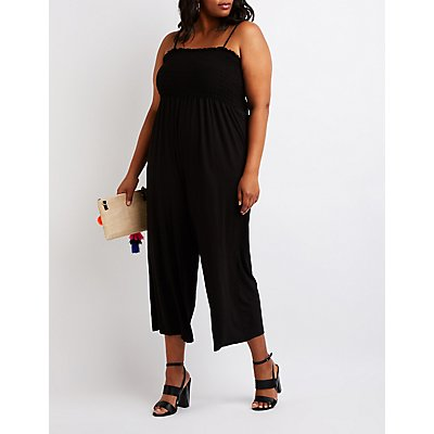 Plus Size Smocked Culotte Jumpsuit