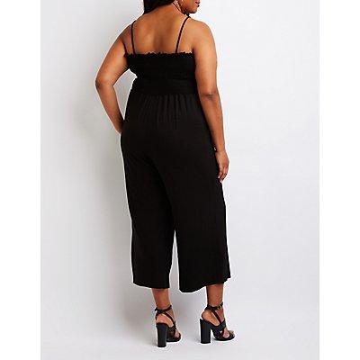 Plus Size Smocked Culotte Jumpsuit