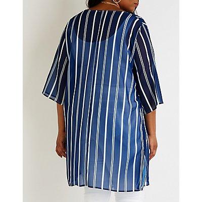 Plus Size Striped Open Front Kimono