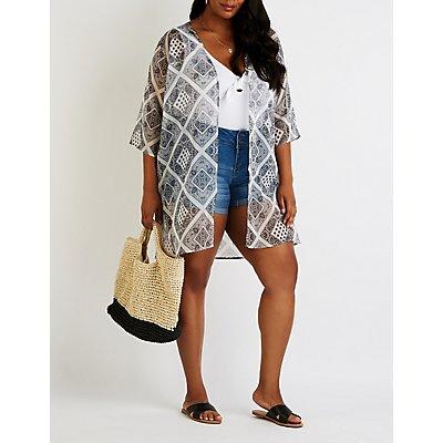 Plus Size Bandana Print Kimono