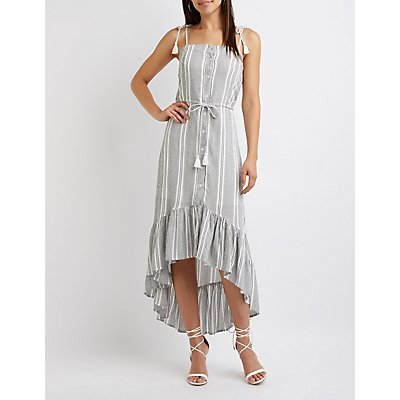 Striped High Low Maxi Dress