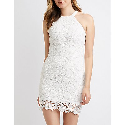 Floral Crochet Bodycon Dress