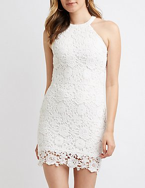 Floral Crochet Bodycon Dress