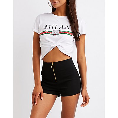 Zip Up Flat Front Shorts