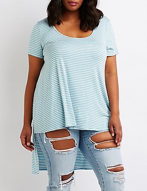 Plus Size Striped Hi Low Tee